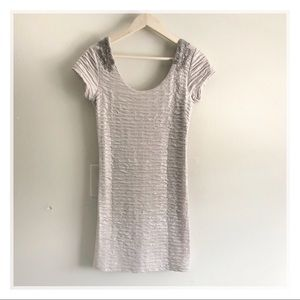 Free People Silver Metallic ruched bodycon dress
